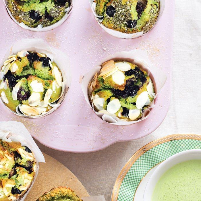 Matcha, Blueberry & Lemon Breakfast Muffins