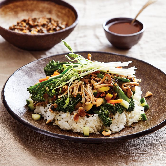 Miso Vegetables & Rice with Black Sesame Dressing