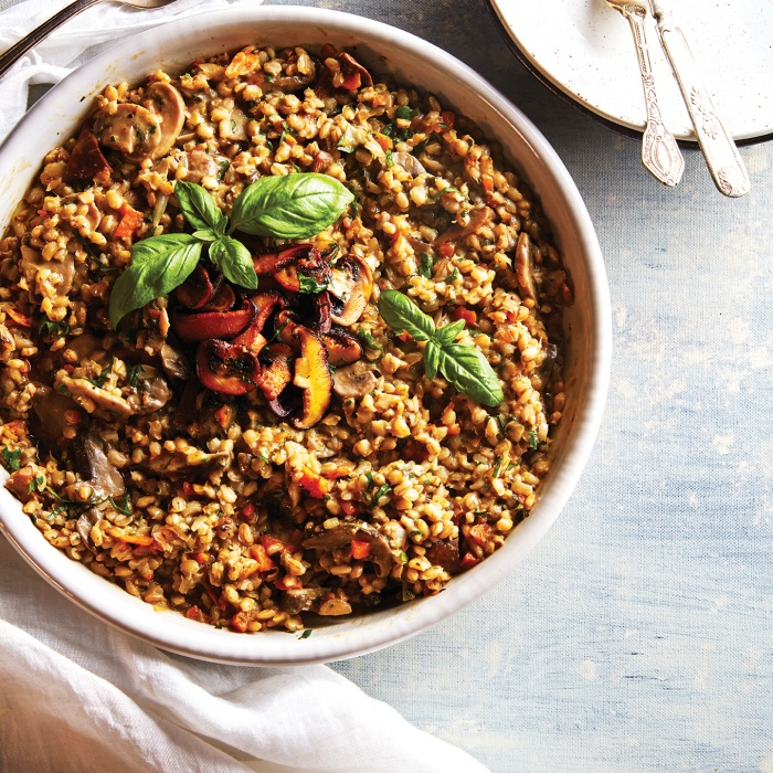 Barley 'risotto' with mushrooms