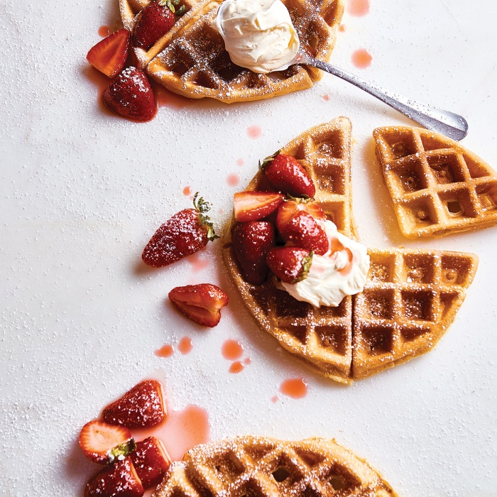 Waffles with Strawberries & Cream