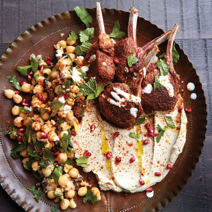 Spiced Lamb with Baba Ghanoush, Chickpea, Parsley & Mint Salad