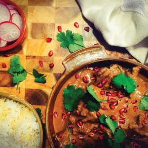 Fesenjoon: Chicken with Walnuts & Pomegranates