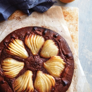 Pear, almond & chocolate tart with Sichuan chocolate pastry