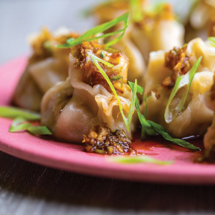 Chinese-Style Pork Dumplings  with Ginger Dressing