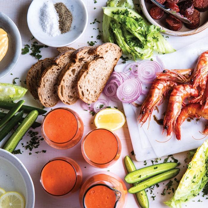 Prawns & Chorizo with Gazpacho Shots