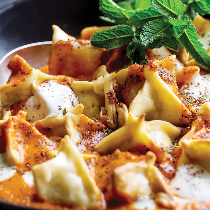 Lamb Manti with Yoghurt & Brown Butter Tomato Sauce