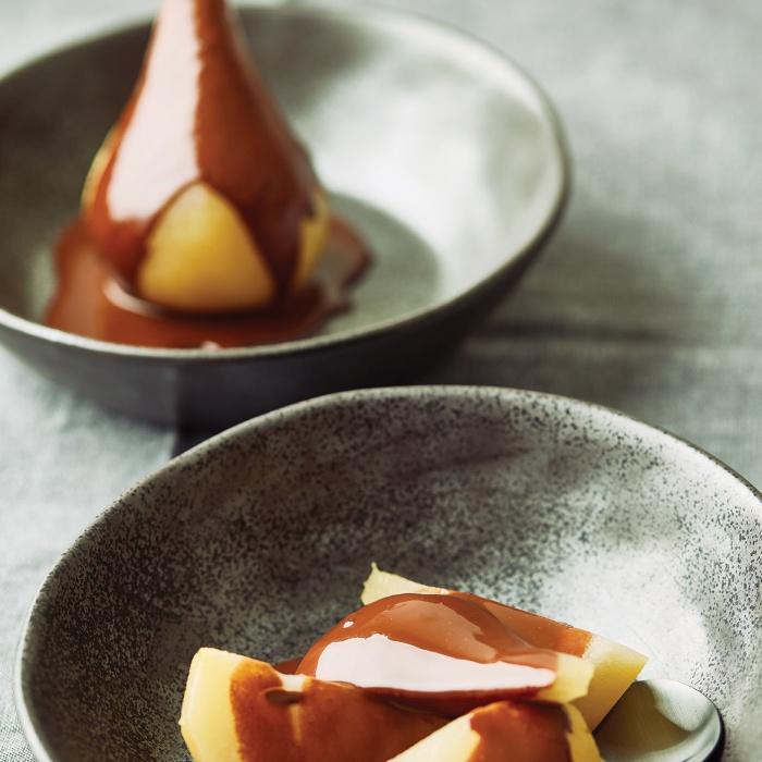 Saffron Pears with Chocolate, Cardamom & Orange Sauce