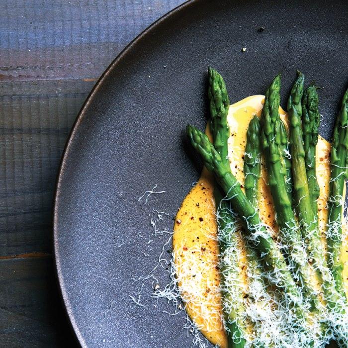 Asparagus with Pepper & Parmesan Sabayon