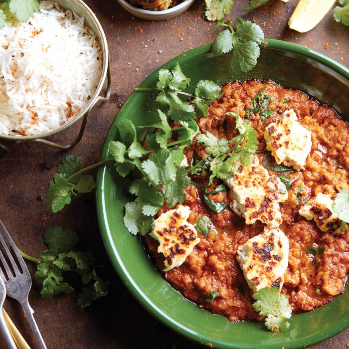 Lentil Masala with Spinach  & Fried Paneer