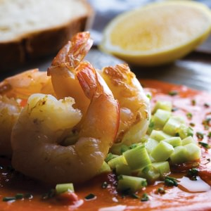Tomato, Saffron & Anchovy Sauce with Prawns