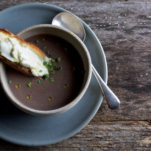Mushroom Soup, with Goat's Cheese Tartines