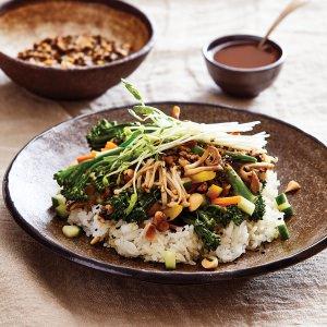 Miso Vegetables & Rice with Black Sesame Dressing