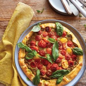 Tomato tart with chick pea & pistachio crumble