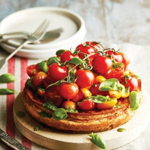 Ricotta Cheesecake with Tomatoes & Herb Dressing